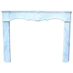 18th Century French Carrara Marble Fire Surround