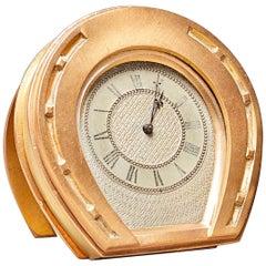 Victorian Gilt Brass Horseshoe Strut Timepiece, circa 1870