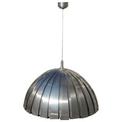 Round Steel Martinelli Luce Ceiling Lamp Sculptural Italian Design Silver 1970