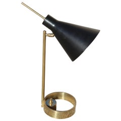 Modern Table Lamp Arredoluce Stilnovo Design Italian Manufacturing Black Gold