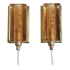 Set of 2 Danish Brass and Glass Sconces from Vitrika, 1960s Scandinavian Modern