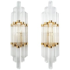 Large Venini Style Murano Glass and Brass Wall Lamps Sconces, 1970