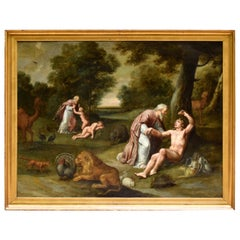 """""""the Creation of Adam and Eve."""" Oil on Copper, Flemish School, 17th Century"""