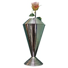 20th Century Italian Art Deco Silver Handcrafted Flower Vase, 1930s