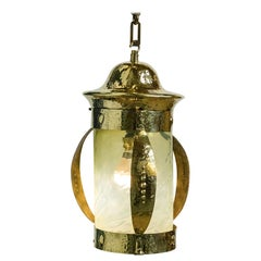 Arts & Crafts Polished Brass Lantern with Vaseline Glass Shade