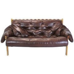 Mid-Century Modern Percival Lafer Style Distressed Leather Tufted Sofa, 1970s