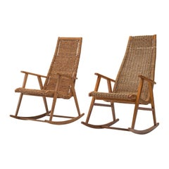 Dutch Pair of Rocking Chairs in Cane, 1950s