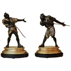 19th Century Pair of Bronze Samouraïs by Emile-Coriolan Guillemin