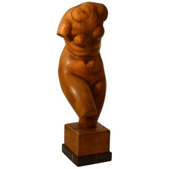 Dutch Sculpture of Female Torso Carved in Wood by V. de Vos