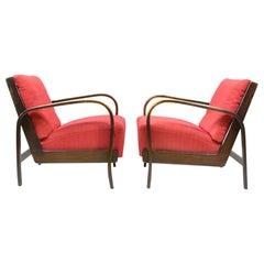 Set of Two Red Armchairs, 1940s by Kropáček and Koželka, Czechoslovakia