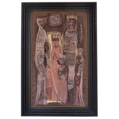Silk Embroidered Painting Kings & Queens, Susan Riley 1962 in Wood Carved Frame