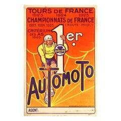 Original Vintage Automoto Tour De France Poster Cycling Sport Victory 1923-1925
