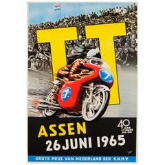 Original Vintage Assen Motorcycle Race Sport Poster 40 Years TT Races 1925-1965