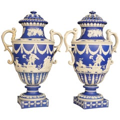 Pair of Remarkable Blue Jasper Dipped Sprigged Stoneware Vases & Covers