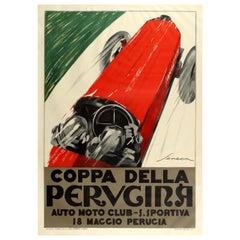 Large Coppa Della Perugina Sports Car Racing Poster Reissue 1990s Art Deco Style