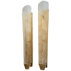 Very Long Murano Clear Glass Leave Sconces, Mid-Century Modern, by Barovier 1960