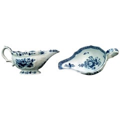 Bow Porcelain Pair of Blue and White Sauce Boats, circa 1760