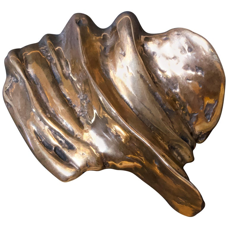 Contemporary Sculptural Bronze Handle - Calix - Cast in French Sand Molds For Sale