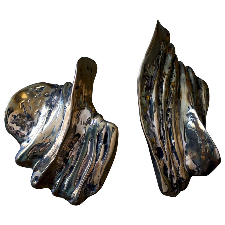 Contemporary Sculptural Bronze Handle - Clizia - Cast in French Sand Molds For Sale