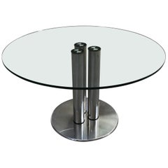 Mid-Century Modern Italian Chrome Base and Glass Top Table Marcuso by Zanuso