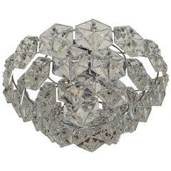 Four-Tier Flush Mount Crystal Glass / Chromed Metal by Kinkeldey, Germany, 1970s