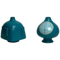 Pair of One of a Kind Turquoise Ceramic Base Lamps Signed by Dalo