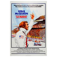 Original Vintage Movie Poster for Le Mans Car Racing Film Starring Steve McQueen