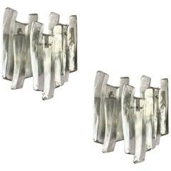 Large Triple Panel Glass Sconces by J T Kalmar, Austria