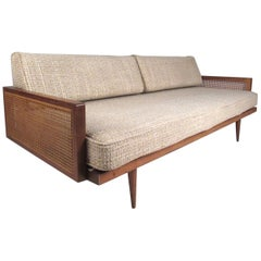 Midcentury Walnut and Cane Sofa or Daybed