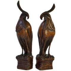 Set of Two Carved Wooden Birds