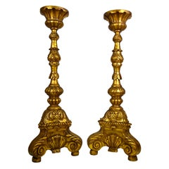 Large Pair of Continental Carved, Gilt Torchers