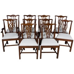 Set of 10 Solid Mahogany Chippendale Style Dining Room Chairs