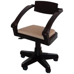Massimo Scolari Italian Beech Wood Office Chair with Castor and Leather Seat