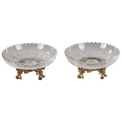 Lovely Pair of Cut-Crystal Goblets Attributed to Baccarat