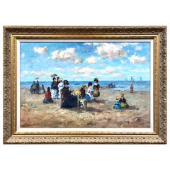 Women on the Beach Impressionist Oil Painting