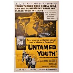 """""""Untamed Youth"""" 1957 Theatrical Movie Poster Mamie Van Doren Eddie Cochran"""