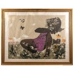 Walter Williams, Woodblock Print, Girl with Butterflies II 1964