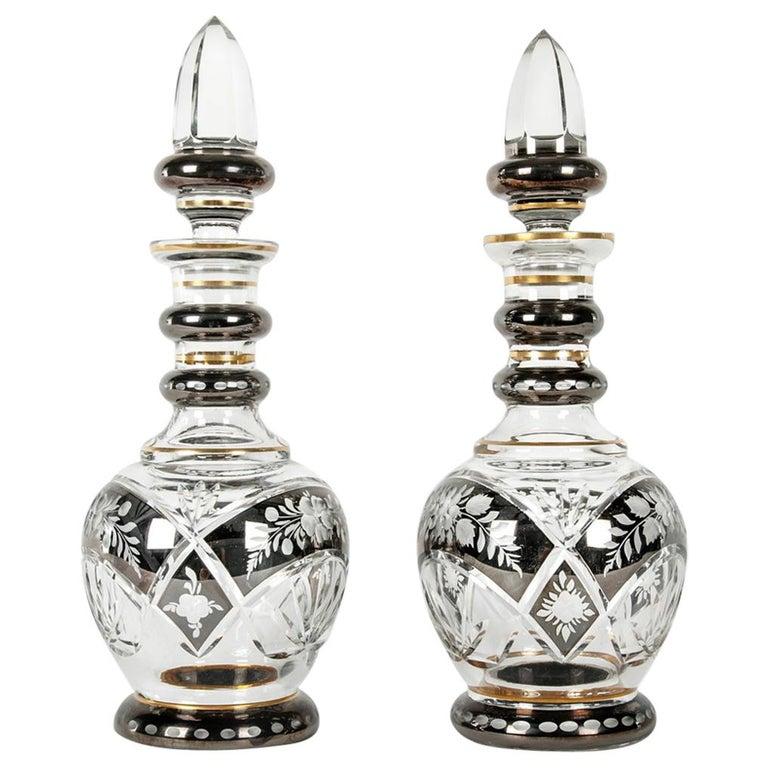 Vintage Pair of Cut Crystal Barware Drinks Decanter Set For Sale