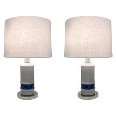 Pair of Italian Ceramic and Nickel Table Lamps by Bitossi