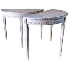 Pair of Period Gustavian Demilune Console Tables