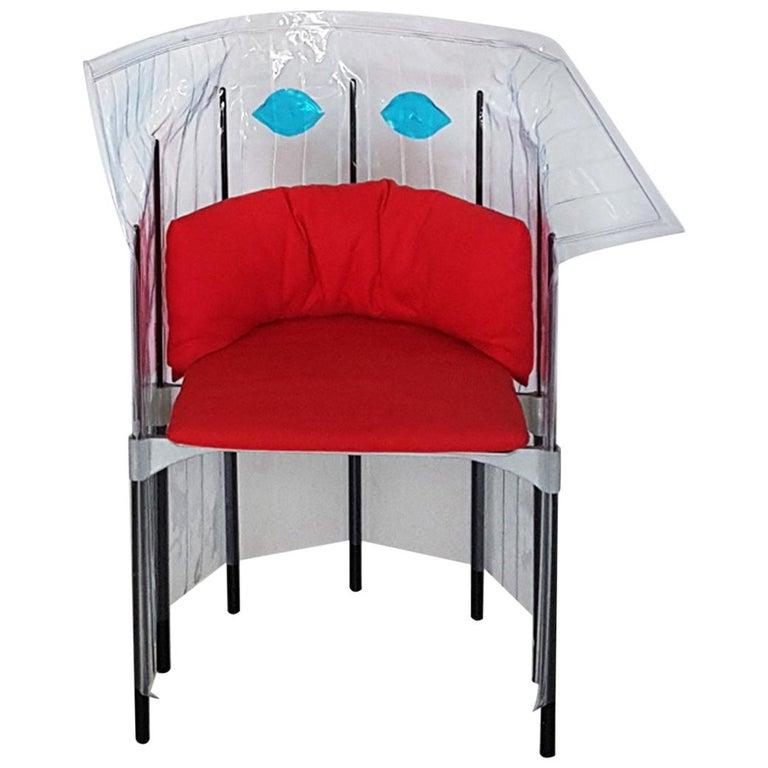 Contemporary Italian Gaetano Pesce Aluminium Structure Armchair with Red Seat For Sale