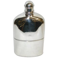 Antique George 1V Silver Flask with Detachable Drinking Cup, 1820