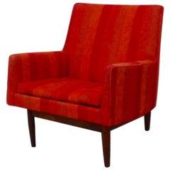 Jens Risom for Jens Risom Walnut Base Lounge Chair as Found Original Fabric