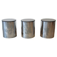 Paul Mayen for Habitat Polished Aluminum and Black Granite Drum Side Tables