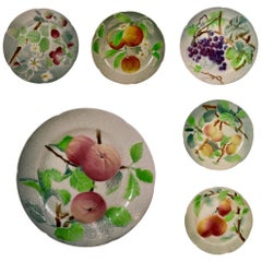 St. Clement French Faïence Fruit Plates, Set of 6 'a', circa 1900