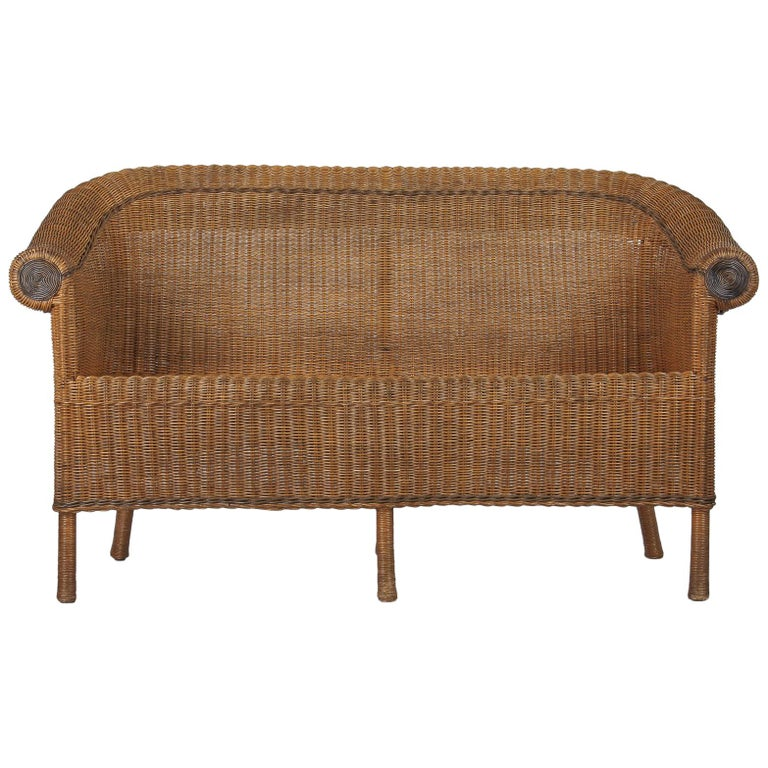 French 1930s Wicker Sofa For Sale