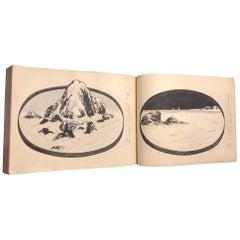 Japanese Masterpiece Bonsai Bonseki Miniature Garden Woodblock Book, 100 Prints