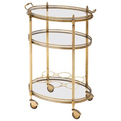 Brass Oval Art Deco Period Bar Cart