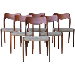 Set of Six Dining Chairs by Niels Moller, Denmark, 1960s