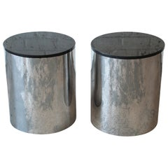 Paul Mayen for Habitat Polished Aluminum and Black Granite Drum End Tables, Pair